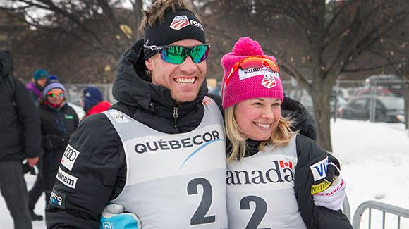 Simi Hamilton and Jessie Diggins celebrate their podiums in the first stage of Ski Tour Canada. (Reese Brown)