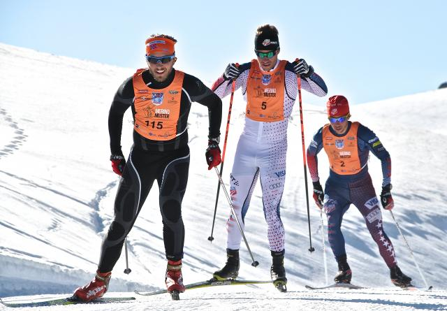 Simi Hamilton and Noah Hoffman push to catch up with Sweden's Henrik Forsberg, to eventually take first and second place. (Matt Whitcomb)