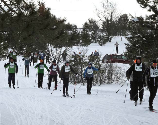 Classic skiers in the 2017 White Pine Stampede cross country ski race
