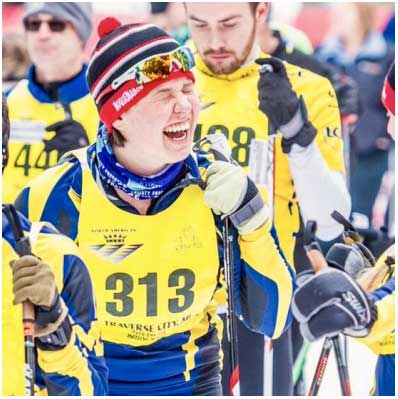Caroline Petersen of the University of Michigan Nordic Ski Clu