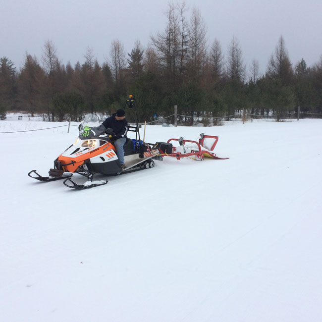 Grooming the Cote Dame Marie xc ski race course at Hanson Hills