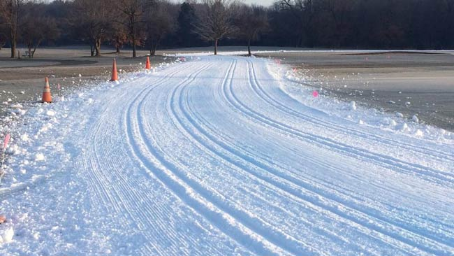 4 sets of track at the Krazy Klassic xc ski race