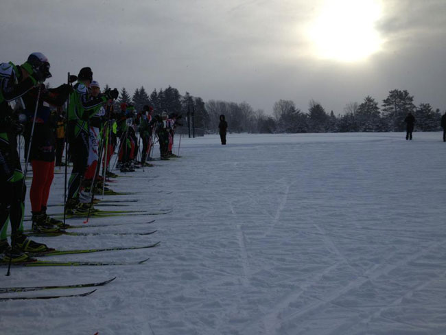 Before the start of the 2016 White Pine Stampede cross country ski race