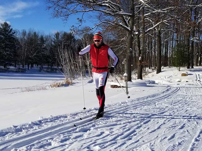 Eric Parrot of GRNST at Michaywe xc ski race