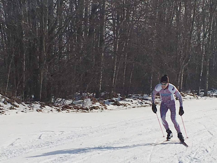 Sam Holmes, winner of the Lakes of the North Winterstart cross country ski race