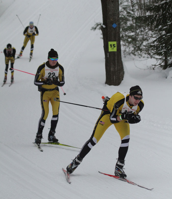 Lead skiers are the White Pine Stampde