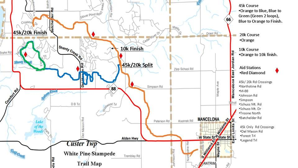 White Pine Stampede cross counry ski race course map