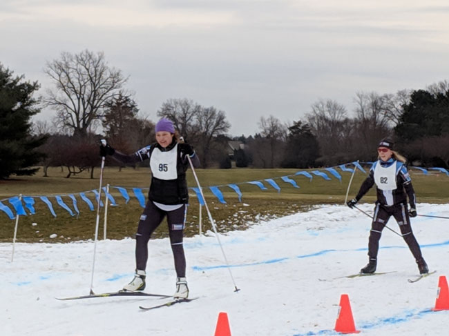 Jodie Haberkorn and Deb Godmer at the 2019 Frosty Freestyle xc ski race