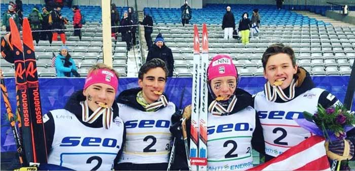 Luke Jager, Ben Ogden, Johnny Hagenbuch, and Gus Schumacher won the Junior men's 4x5k relay Sunday at the FIS Junior World Cross Country Championships. (FIS)