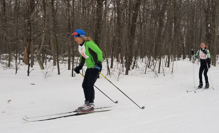 Out on the xc ski trail at the Michigan Cup Relays