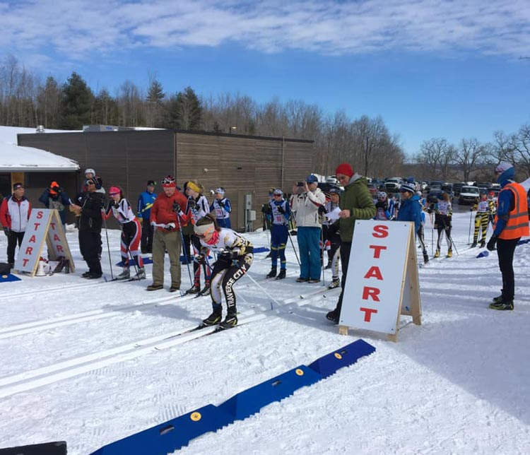 Starting racer at Michigan High School Cross Country Ski Championships 2020