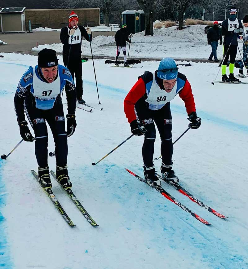 Mike Muha passes Tony Percha in the Krazy Classic cross country ski race