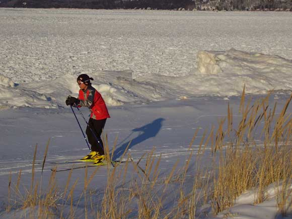 Students from Glen Lake hit the beach for ski practice on Tuesday, March 3rd.