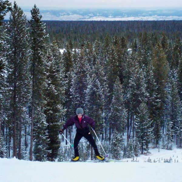 Gussie Peterson cross coutnry skiing at West Yellowstone