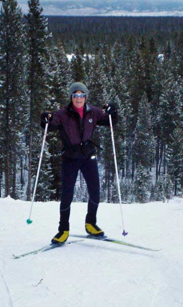 Gussie Peterson cross country skiing at West Yellowstone