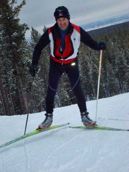 Curt Peterson cross country skiing at West Yellowstone