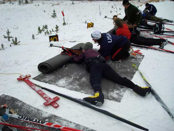 Gussie Peterson on the biathlon range at West Yellowstone
