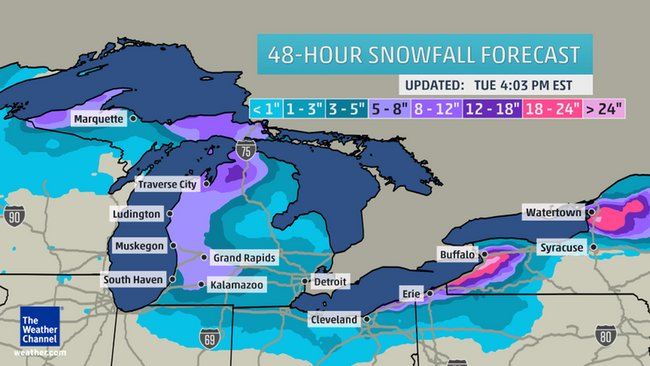 Forecasted Michigan snowfall 11-18-2014