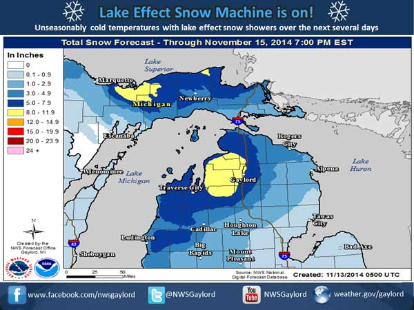 Forecasted November 2014 snow fall for northern Michigan
