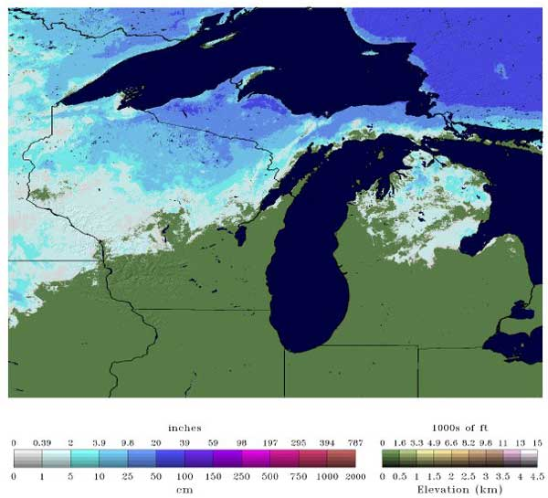 Snow depths in Michigan