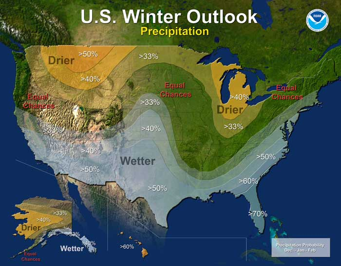 Precipitation - U.S. Winter Outlook: 2015-2016 (Credit: NOAA)