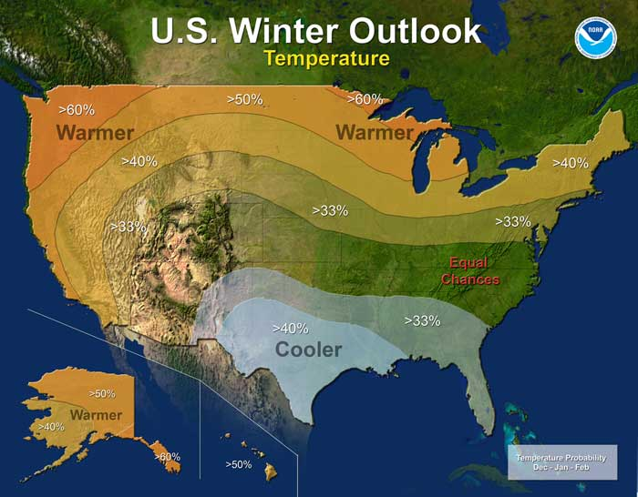 Temperature - U.S. Winter Outlook: 2015-2016 (Credit: NOAA)