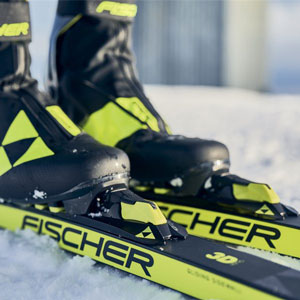 Reserve Fischer demo skis in West Yellowstone