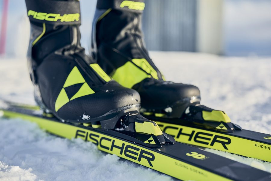 Fischer demo skis at West Yellowstone