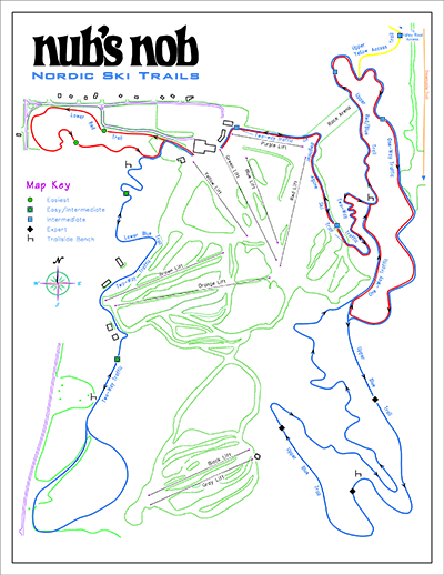 Nubs Nob XC ski trail map