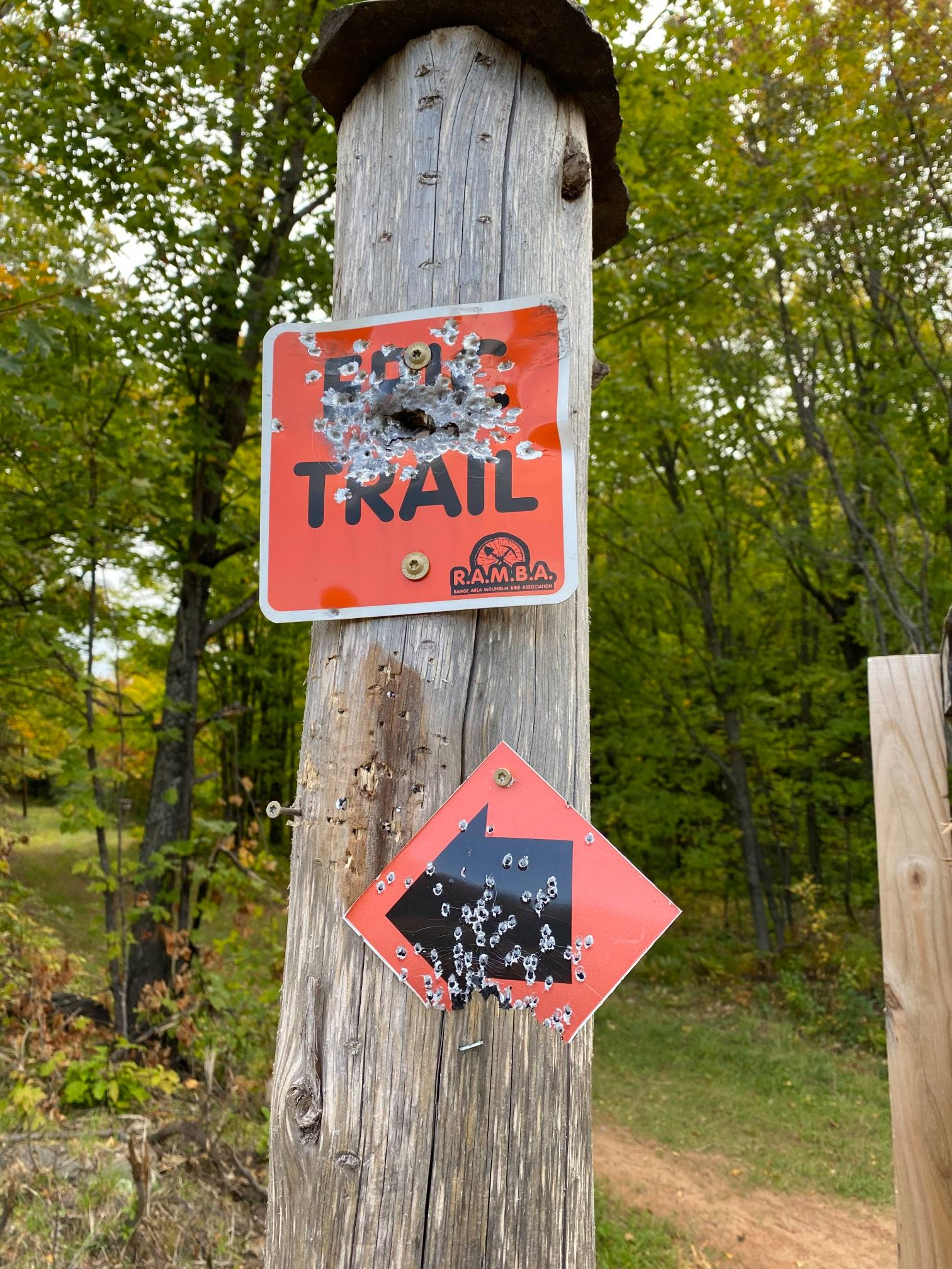 Sign damage on the Norman Juhola trail system