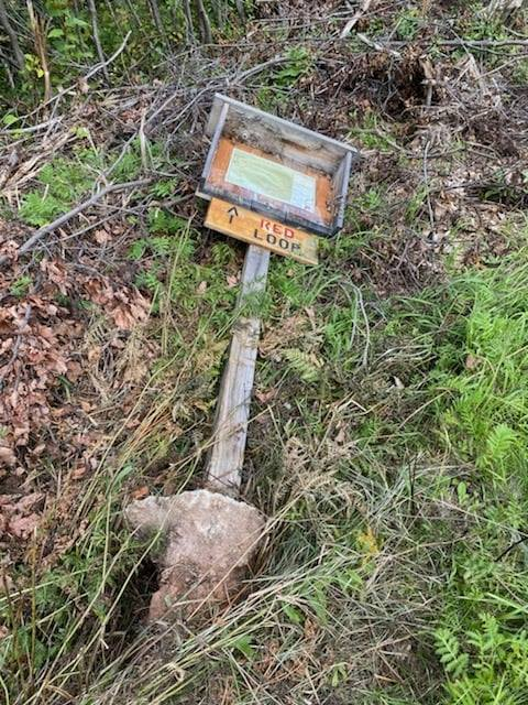 Suicide Bowl trail sign knocked over