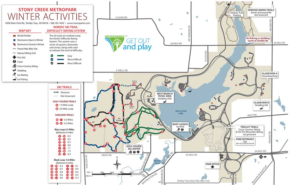 Stony Creek Metropark Map Cross country ski trail Stony Creek Metropark   Nordic Ski Racer
