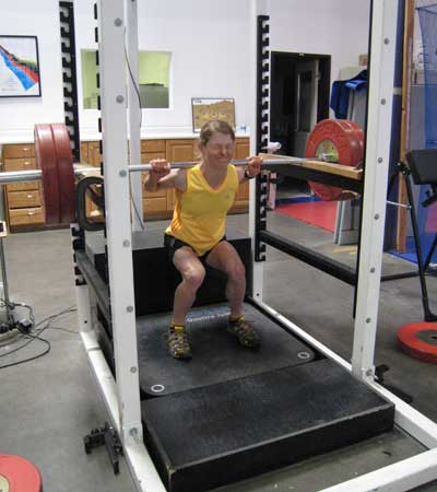 Continental Cup skier Taz Mannix works on squats as well!