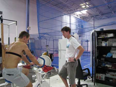eif Zimmermann (Bozeman, MT) and Continental Cup Coach Pat Casey at testing in Park City, Utah.