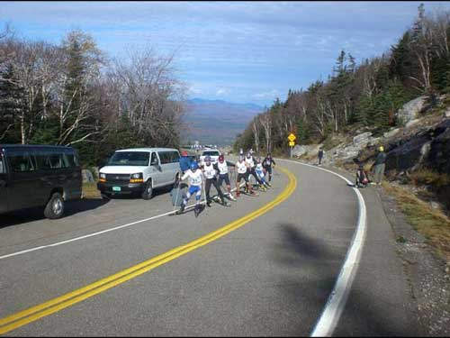 Participants in the Whiteface Mountain Rollerski Race