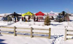 Equipment tents at Steamboat Springs Nordic Ski Camp