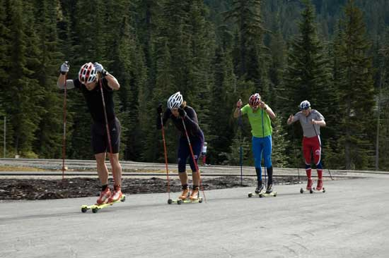 Kris Freeman with the USST rollerskiing at the Whistler Camp