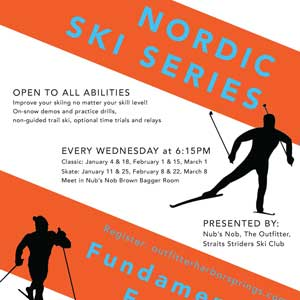 Cross country skiers can gather each Wed at Nubs Nob!